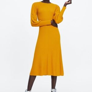 Zara Yellow Puffy Sleeve Maxi Ribbed Dress Sz S